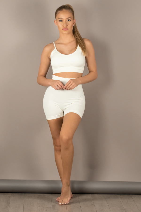 The Sweat Store exclusive PULL ME UP SHORTS - White  - The Sweat Store