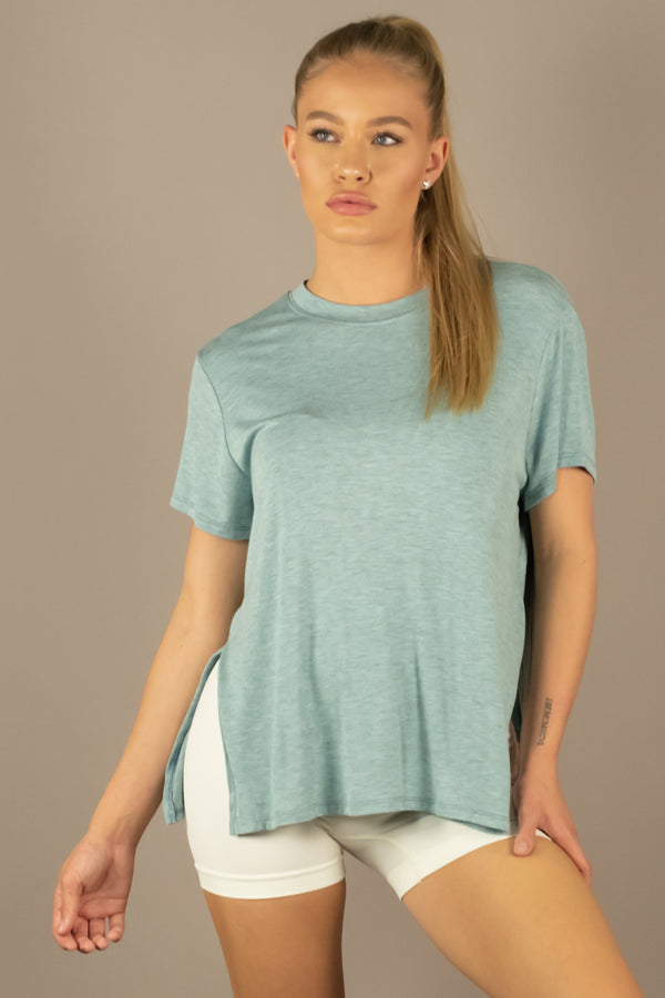 The Sweat Store exclusive SIDE SLIT T-SHIRT - Dusty Mint  - The Sweat Store