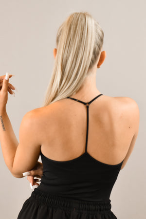 The Sweat Store exclusive RACER BACK CAMISOLE - BLACK  - The Sweat Store