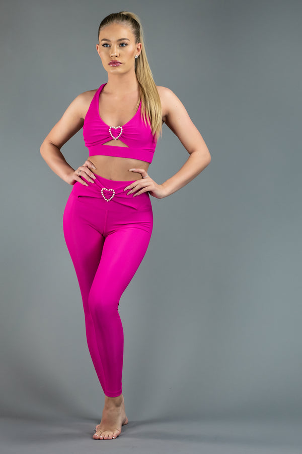 BEACH RIOT HEART KNOT LEGGING - FUCHSIA ROSE  - The Sweat Store