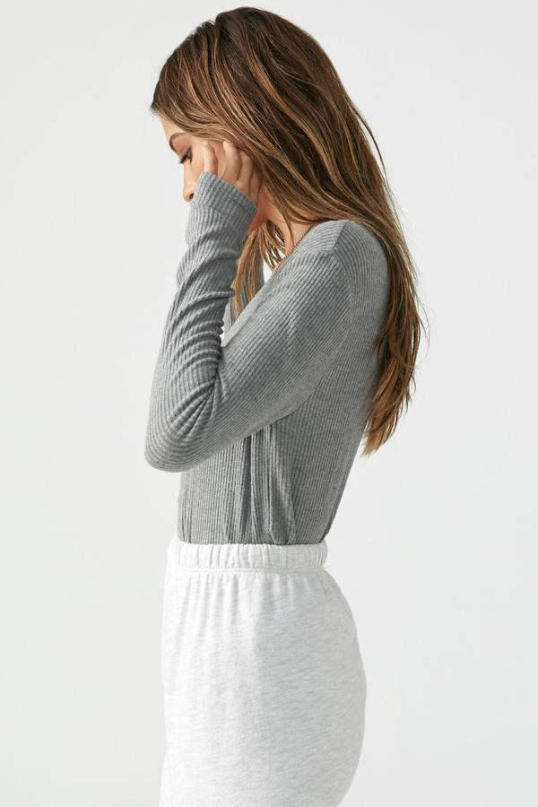 Joah Brown DEEP V L/S - GREY RIB  - The Sweat Store