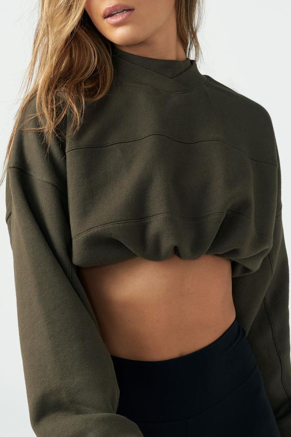 Joah Brown DRAW CORD CROP CREW - Army French Terry  - The Sweat Store
