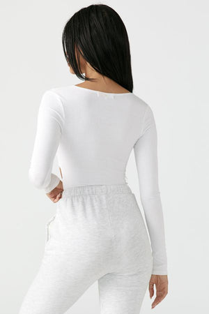 Joah Brown FITTED CUTOUT L/S - WHITE RIB  - The Sweat Store