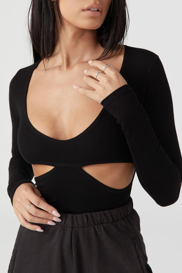 Joah Brown FITTED CUTOUT L/S - BLACK RIB  - The Sweat Store