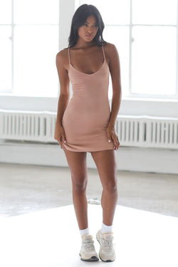 Joah Brown SLIP DRESS - Clay Rib  - The Sweat Store