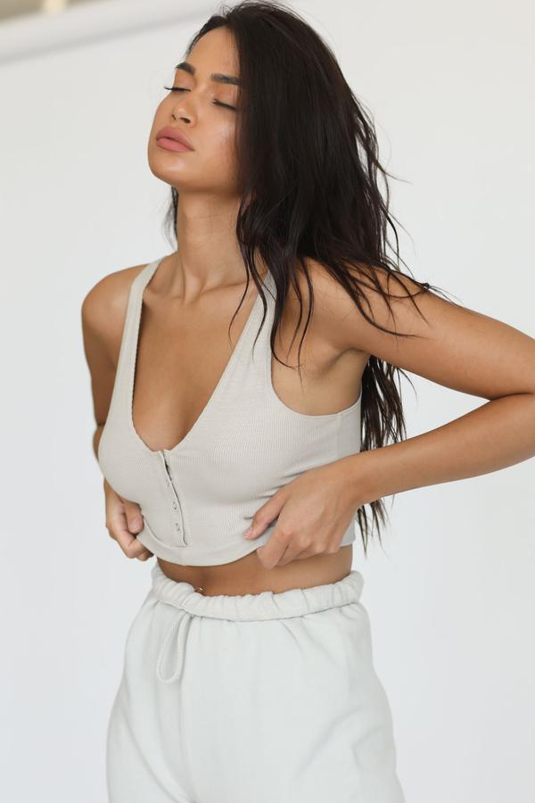 Joah Brown SNAP CROP TANK - Dune FlexRib  - The Sweat Store