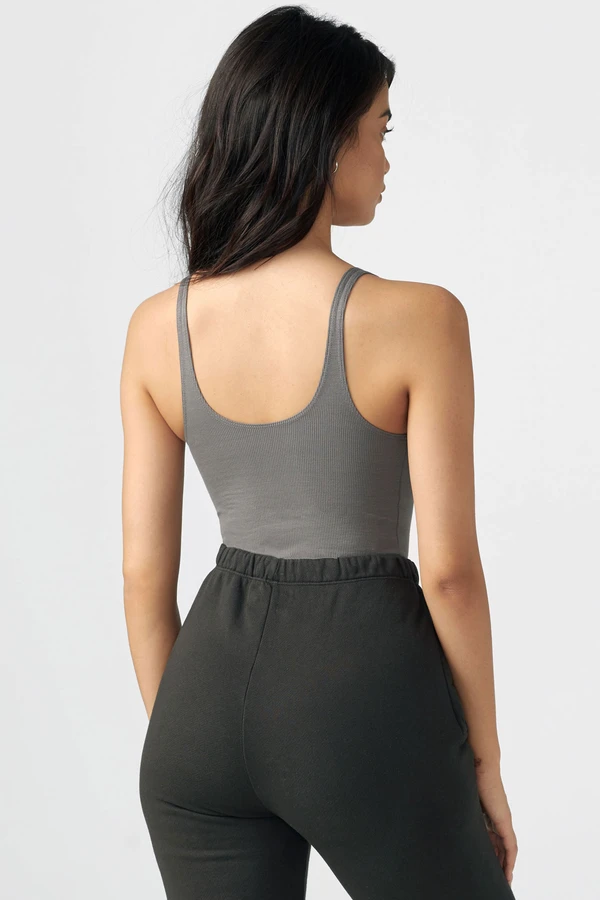 Joah Brown SNAP CROP TANK - Concrete Flex Rib  - The Sweat Store