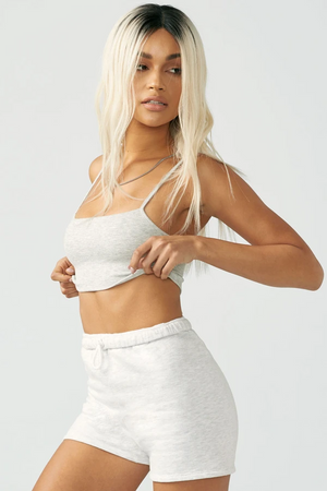 Joah Brown SQUARE NECK TANK BRA - Pearl Grey Rib  - The Sweat Store