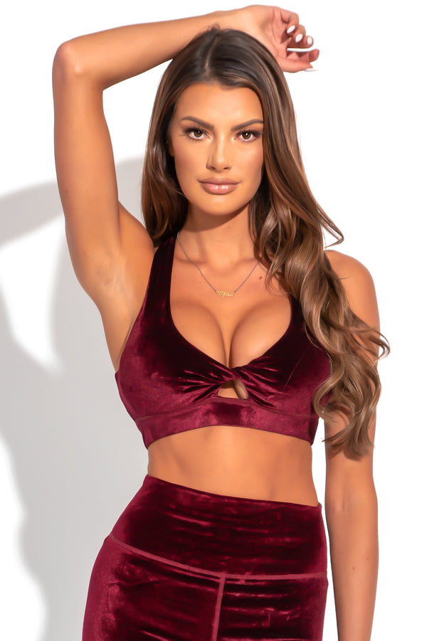 Agent84 VELOUR MALIBU BRA - Cranberry  - The Sweat Store