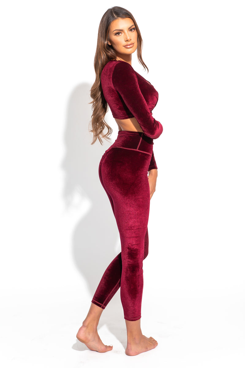 Agent84 VELOUR SCRUNCH TIGHT - Cranberry  - The Sweat Store