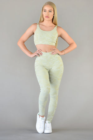 The Sweat Store exclusive JACQUARD LEGGING - Sage Camo  - The Sweat Store