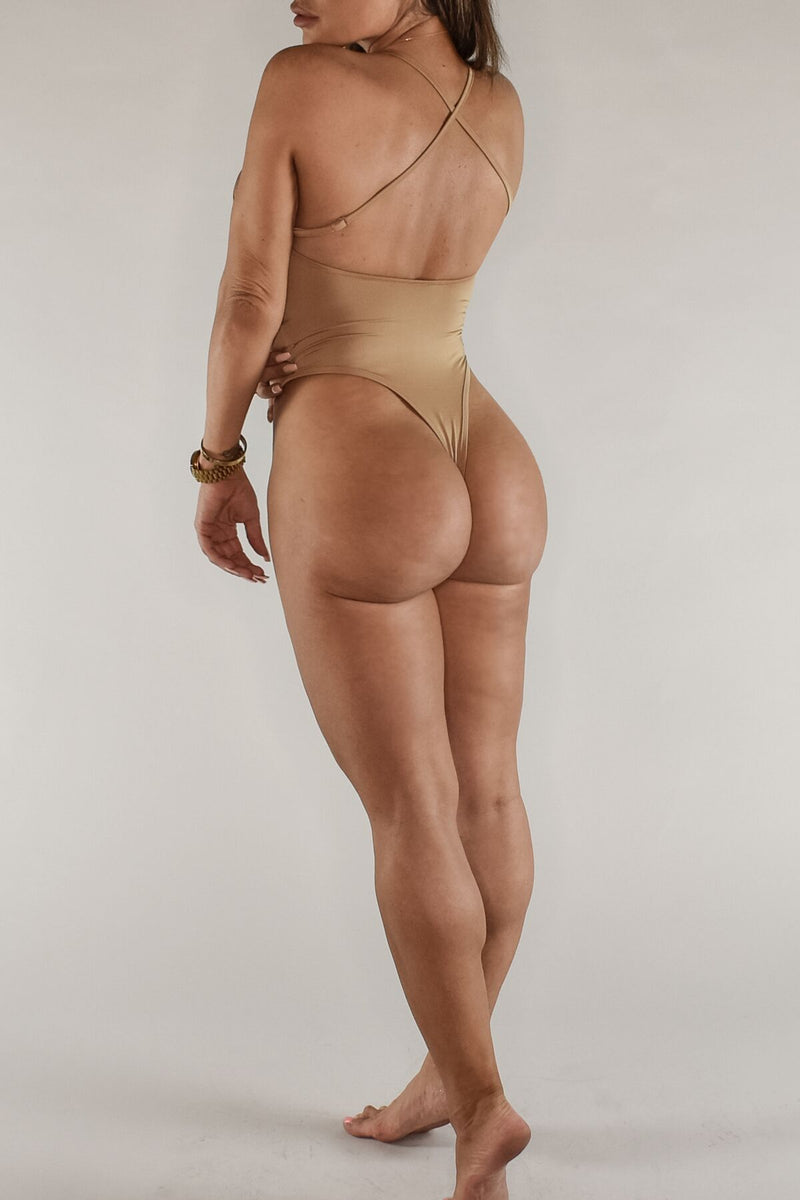 The Sweat Store exclusive ESSENTIAL BODYSUIT - TAN  - The Sweat Store