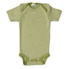Green Striped Short sleeved merino baby bodysuit
