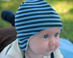 Organic merino lined winter baby beanie in blue