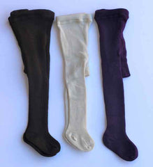 Organic merino baby tights violet brown natural