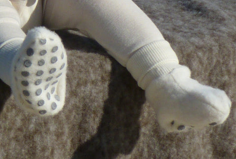 Wool Fleece Baby Booties with Non Slip Sole