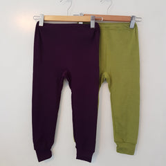 Organic Merino & Silk Childrens Leggings with Cuffs