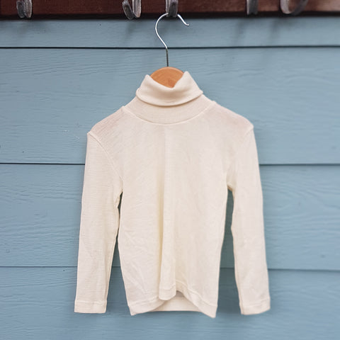 LAST ONE! Organic Merino Wool & Silk Childrens Rollneck, Size 104 (AUS 3)