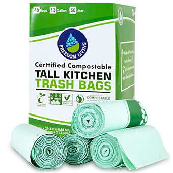 Freedom Living Compostable Tall Kitchen Trash Bags 13 Gallon 48 Count