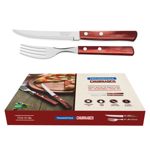 12PC Red Polywood Traditional Steak Set