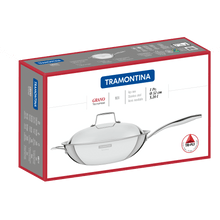 Load image into Gallery viewer, Tramontina Grano 32 cm 5.2 L Stainless Steel Wok