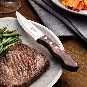 6Pc Brown Polywood Jumbo Steak Knife Set