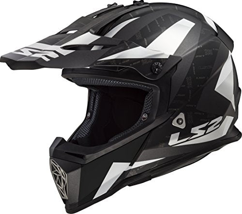 LS2 Helmets Motorcycle & Powersports Helmet's Off-Road Fast V2 (Amp Matte Black Silver, X-Small)