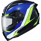 Scorpion EXO-R2000 Adult Street Motorcycle Helmet Hypersonic Blue Hi-Vis Large