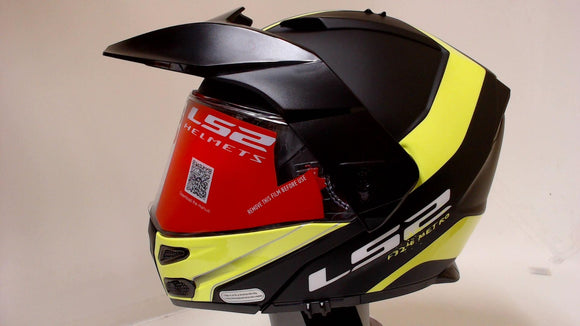 LS2 Metro V3 Motorcycle Helmet Modular Matte Black Hi-Vis Yellow 2XL Full Face