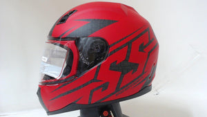 SS700 Hammer Down Motorcycle Helmet Full Face Unisex Adult Street Matte Red 2XL