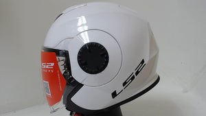 LS2 Verso Motorcycle Helmet Unisex Adult Large Gloss White Scooter Urban DOT