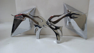 Chrome Diamond Flame Motorcycle Mirrors For Harley Davidson Or Metric Bike Pair