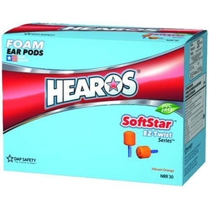Box - Hearos SoftStar EZ Twist No-Roll Foam Ear Plugs (NRR 30 | 100 pairs | Uncorded)