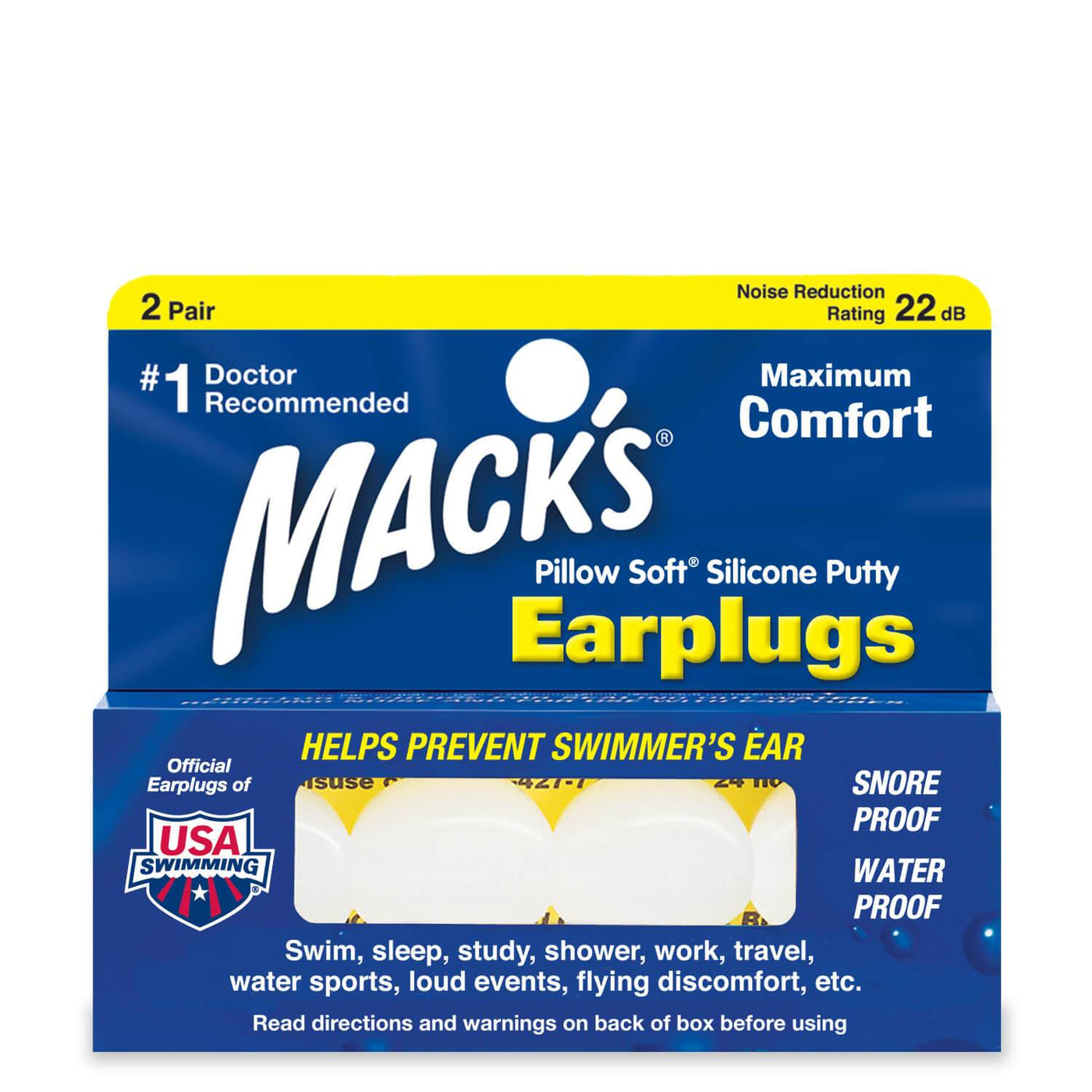 Macks Pillow Soft Mouldable Silicone Ear Plugs (NRR 22 | 2 Pairs)