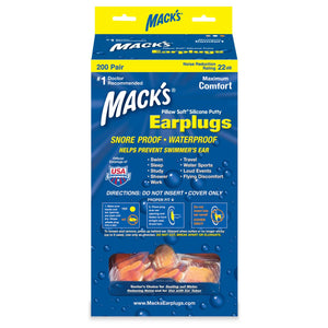 Macks Kids Size Moldable Soft Silicone Ear Plugs (200 Pair Dispenser)