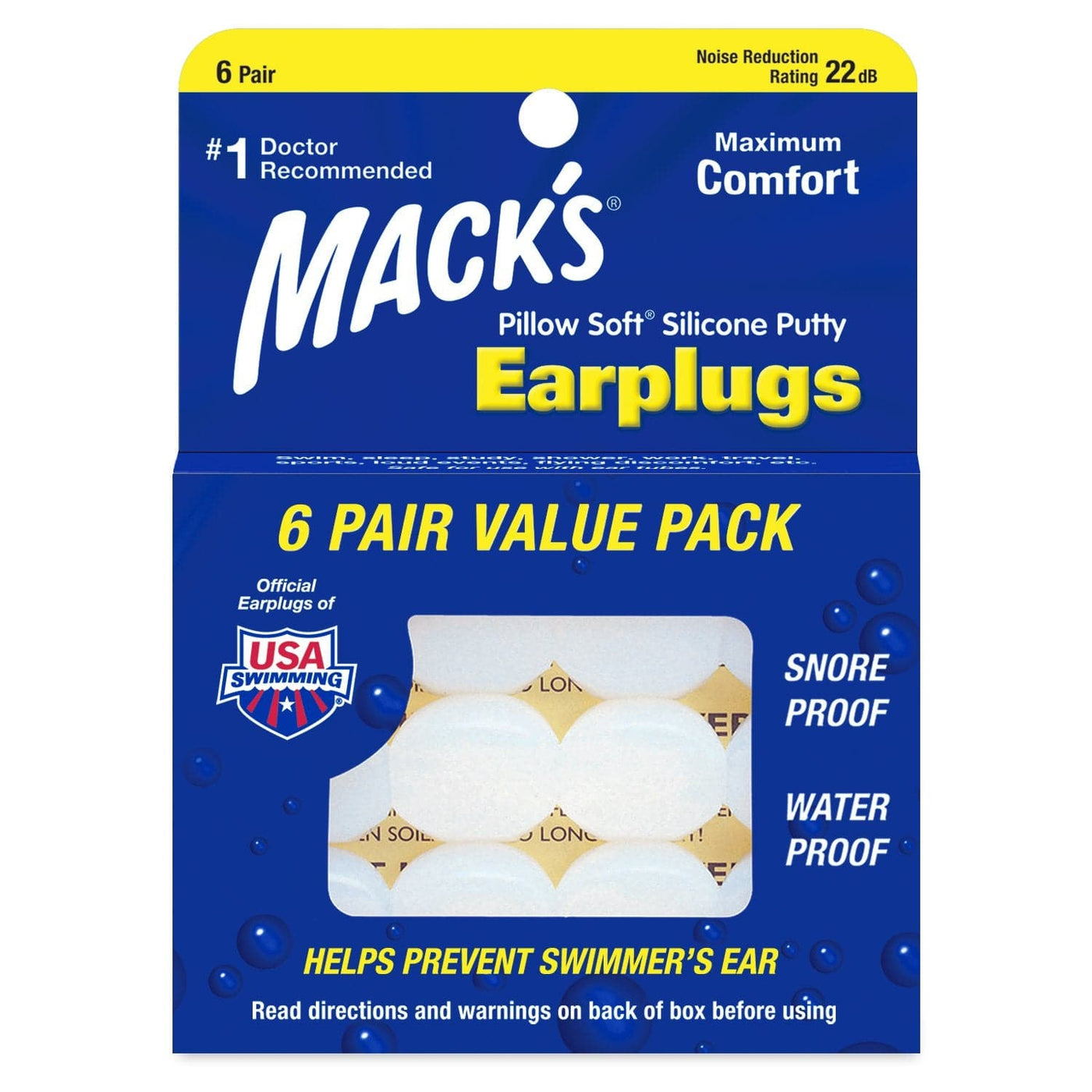 Macks Pillow Soft Mouldable Silicone Ear Plugs (NRR 22 | 6 Pairs)