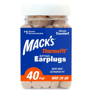 Macks ThermaFit™ Soft Foam Ear Plugs (NRR 29 | Bottle of 40 Pairs )