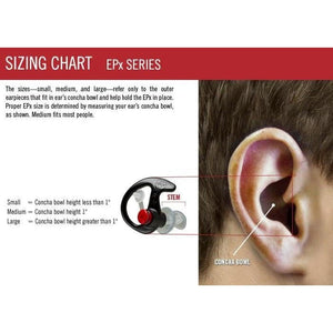 EP7 Sonic Defenders Ear Plugs Sizing Chart