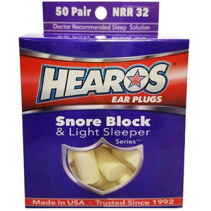 Hearos Snore Block Foam Ear Plugs (NRR 32) (50 Pairs)