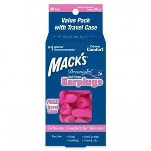 Macks Dreamgirl Soft Foam Ear Plugs (NRR 30) (30 Pairs w/ Travel Case)