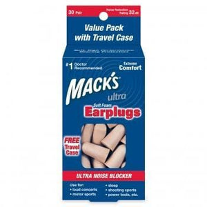 Macks Ultra Soft Foam Ear Plugs (NRR 32) (30 Pairs w/ Carry Case)