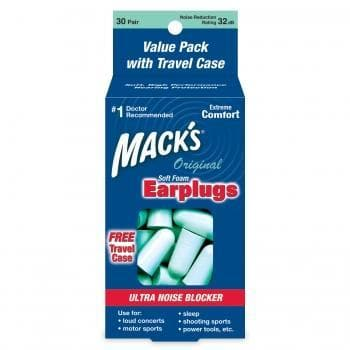 Macks Original Soft Foam Ear Plugs (NRR 29) (30 Pairs w/ Travel Case)