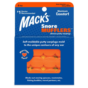 Macks Snore Mufflers™ Silicone Putty Ear Plugs (NRR 22 | 6 Pairs)