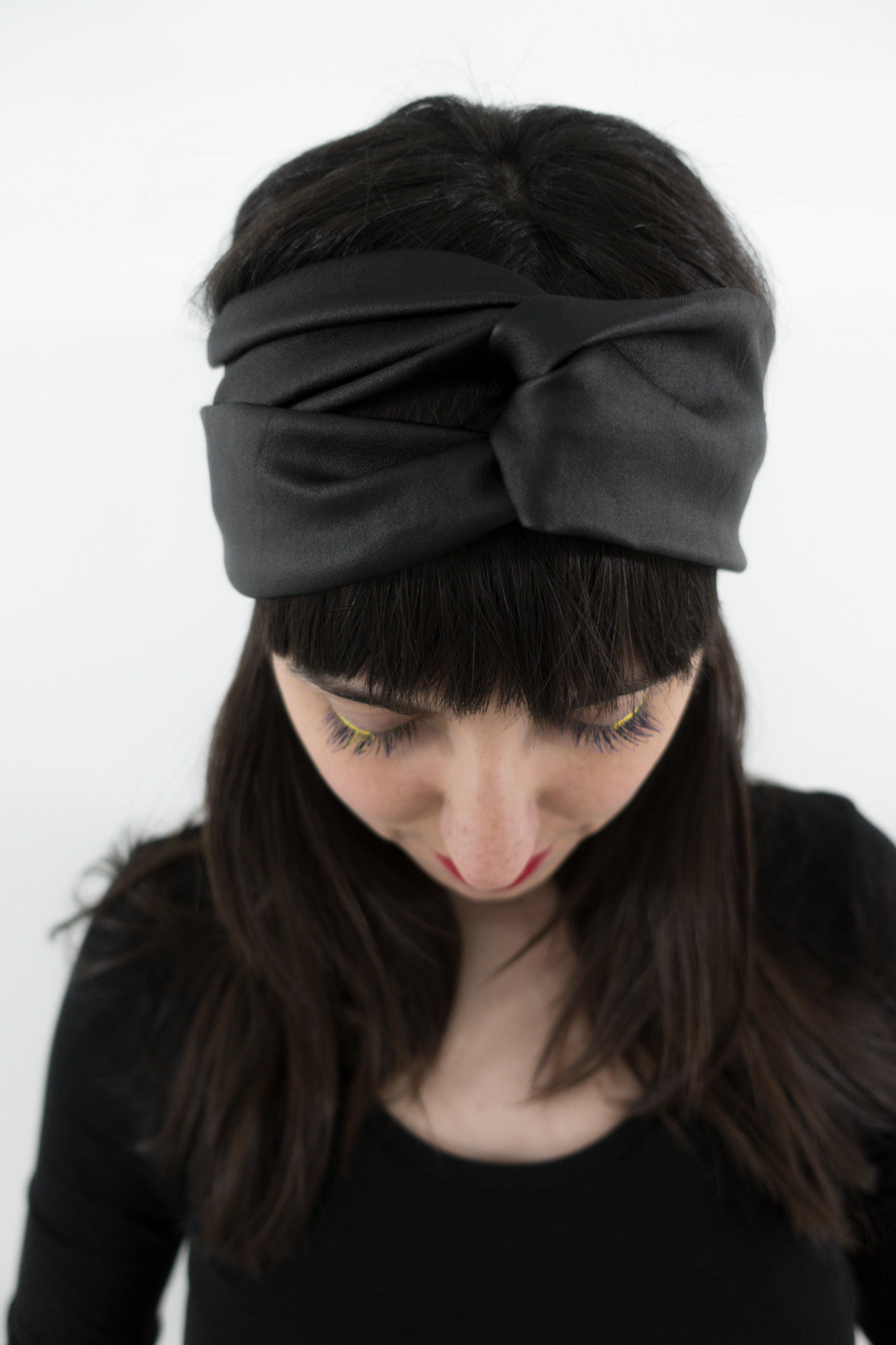 Turban headband - black faux leather