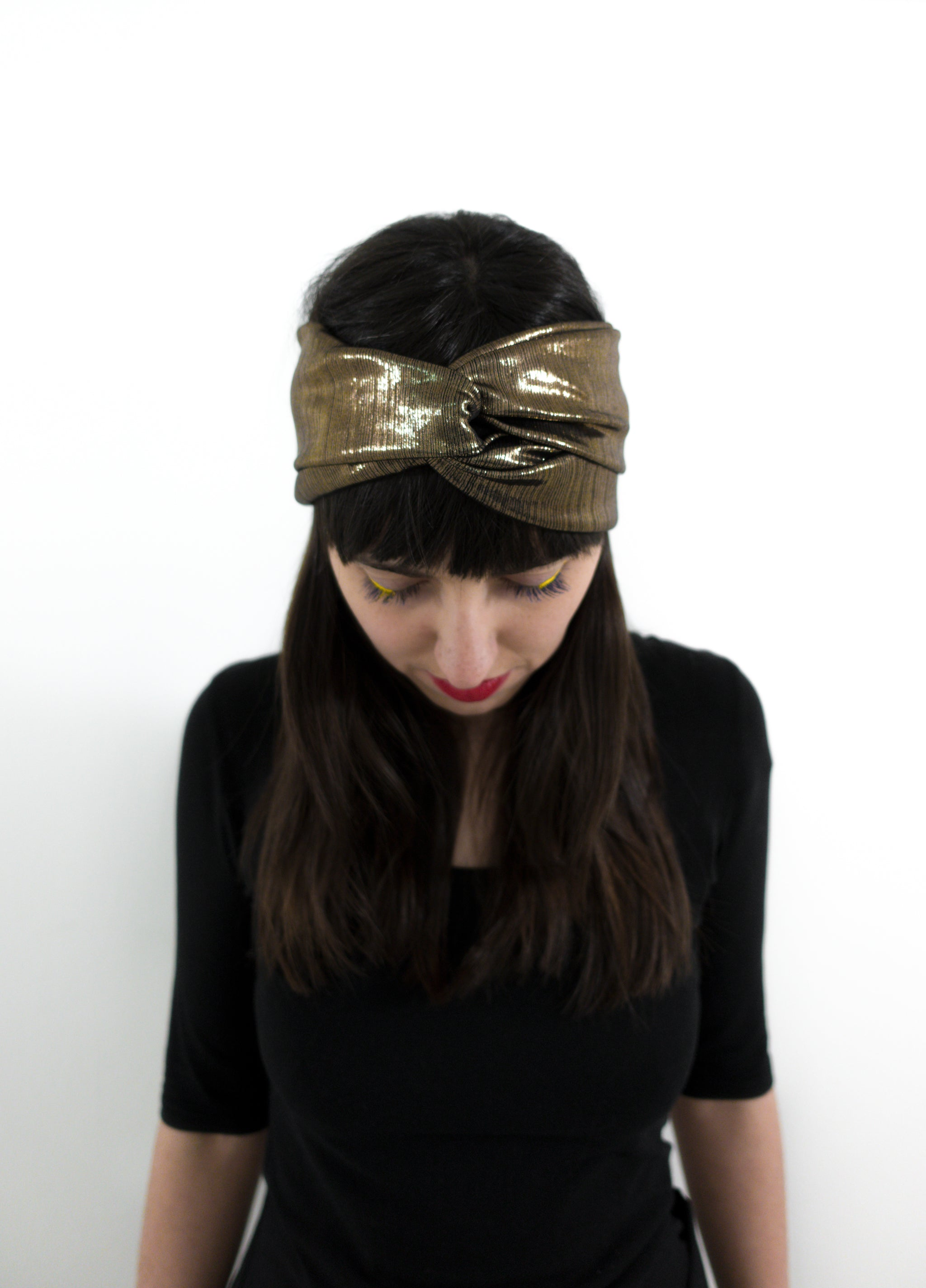Turban headband - metallic copper shine
