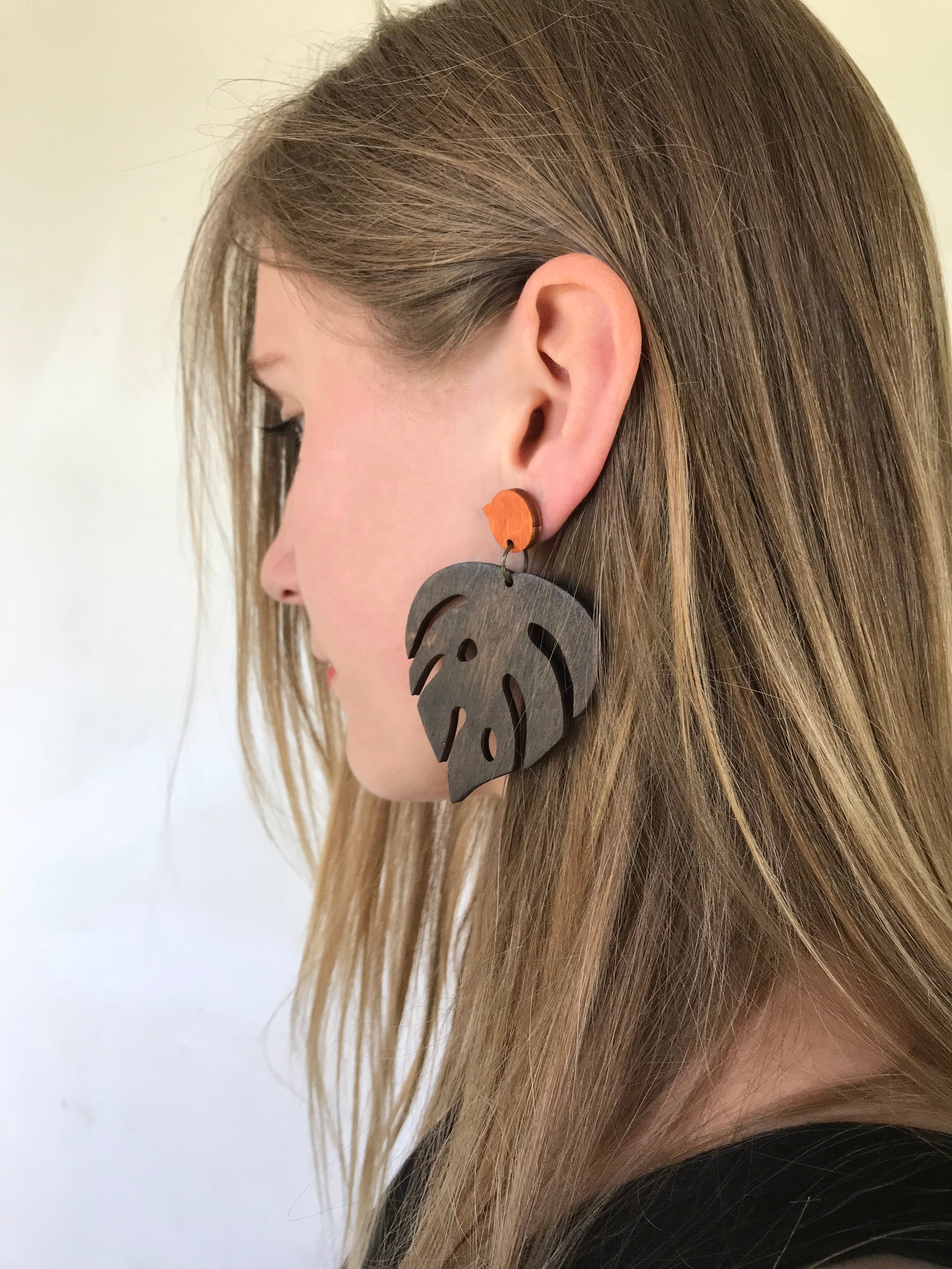 Earrings - Large Monstera (dark brown walnut)