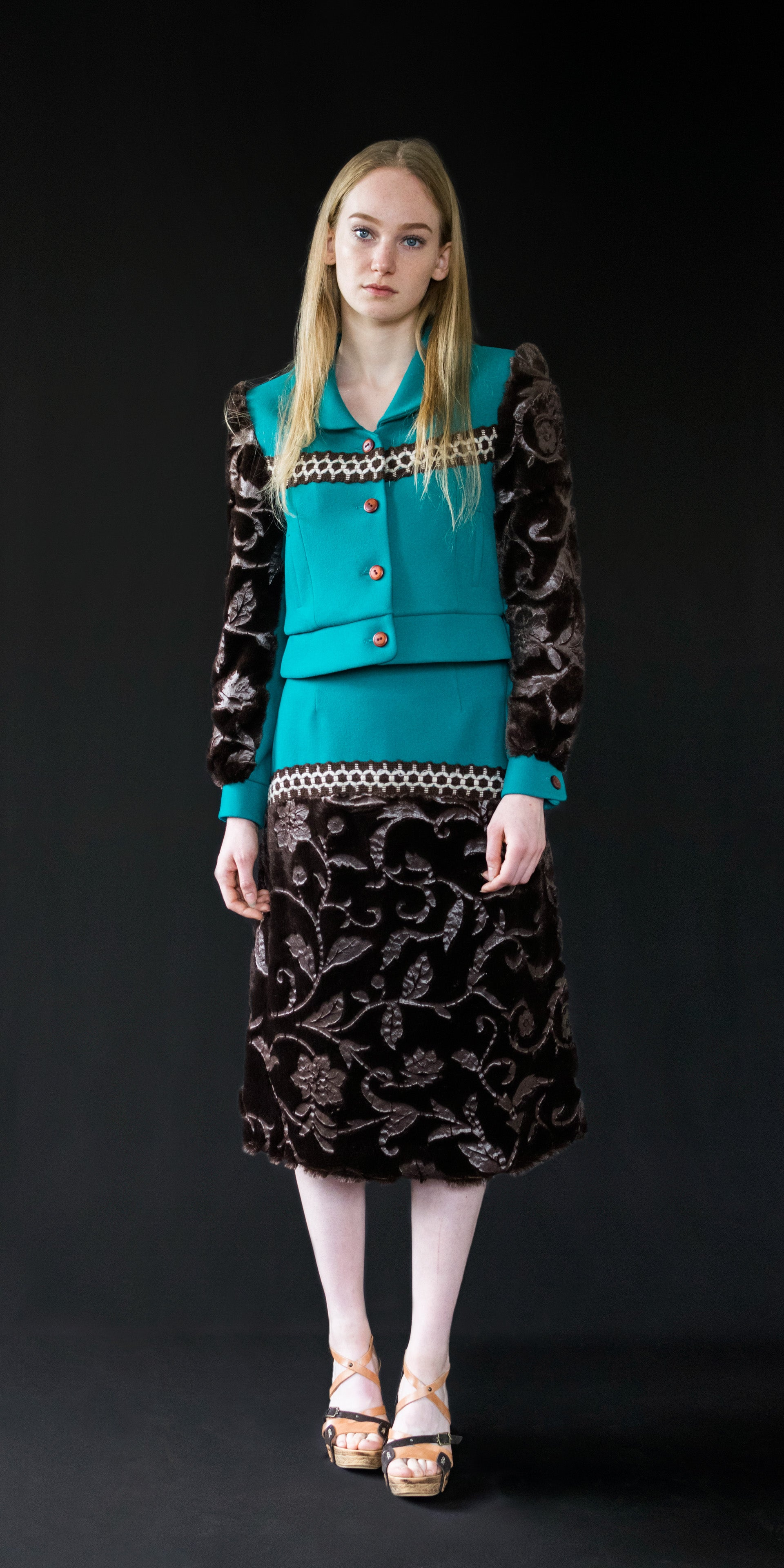 Skirt teal (wool and fake fur) (made to order)