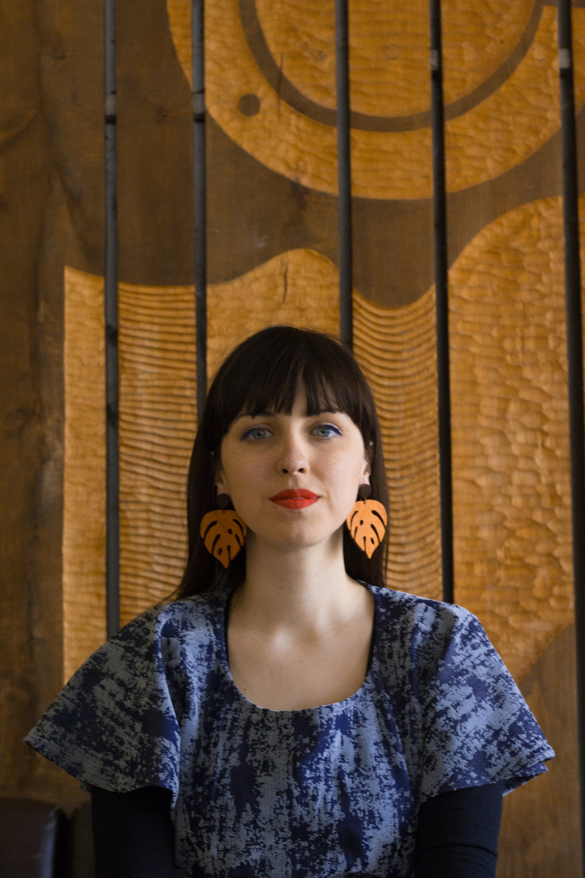 Earrings - Large Monstera (orange teak)