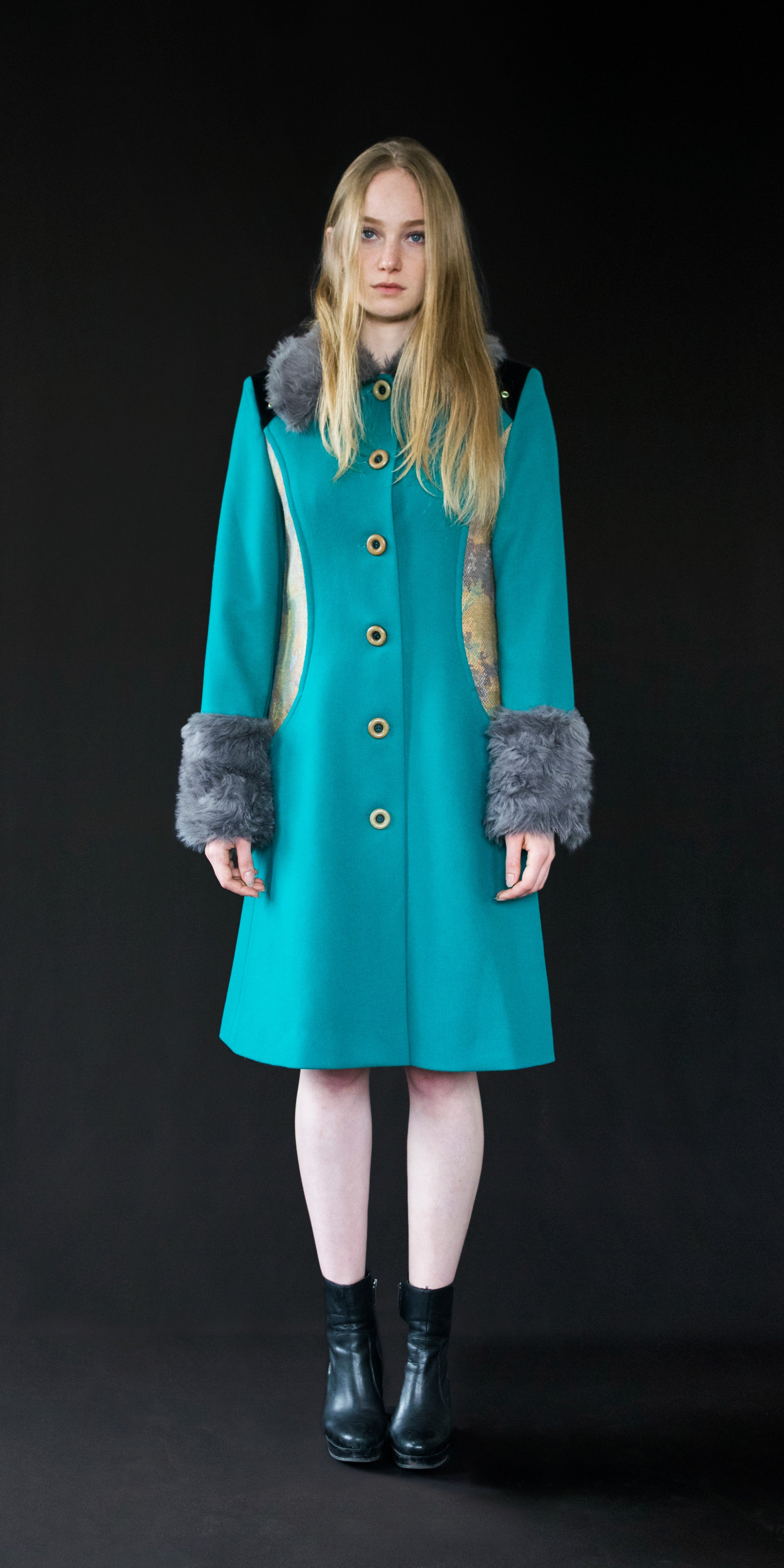 Coat teal (wool + vintage tapestry) M/38