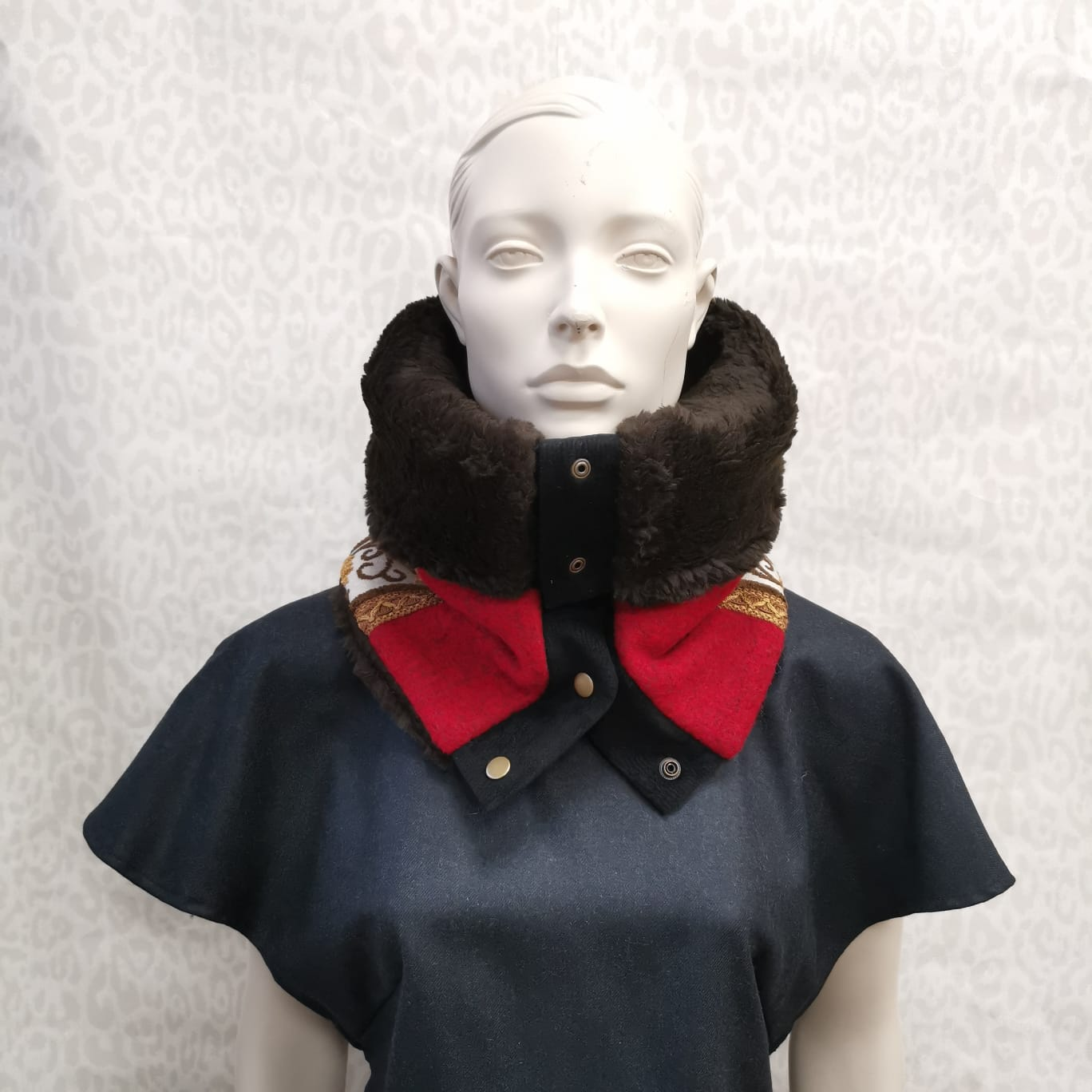 Snap cowl - red wool and ribbons
